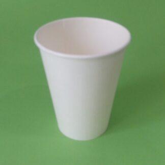 Бумажный стакан белый однослойный, 300 мл